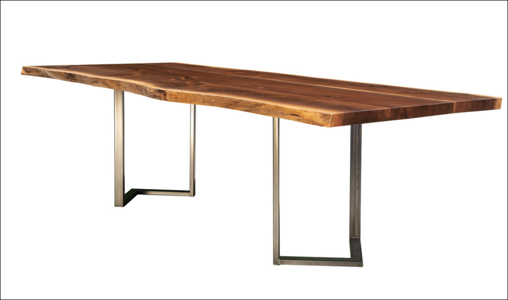 "Cherrywood Studio Black Walnut Dining Table, 96"" by 42"", Reverse Chevron Hot Rolled Steel Base"