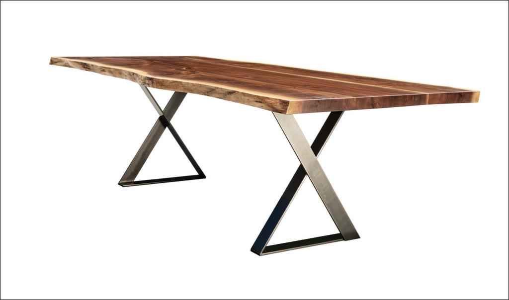 "Cherrywood Studio Black Walnut Dining Table, 96"" by 42"", Cross Hot Rolled Steel Base"